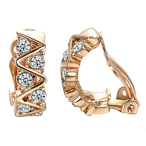 Yoursfs Diamante Clip Orecchini Semplice Cristallo Onda Curva Clip Orecchini con 18ct Oro Rosa Placcato Abito Gioielleria