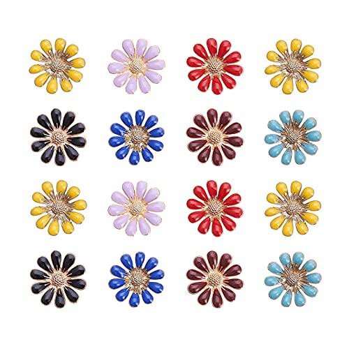 PandaHall 48 Botones Redondos de Flores de Margarita de aleación con Parte...