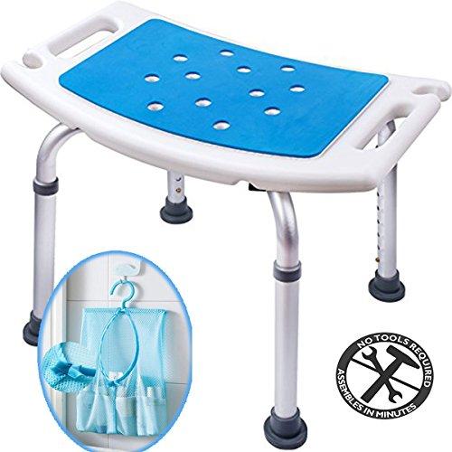 Medokare Shower Stool - Padded Shower Chair with Handles for Bathtub - Tote Bag, Adjustable, Tool-Free Assembly Bathroom Stool Designed for Seniors & Elderly Adults