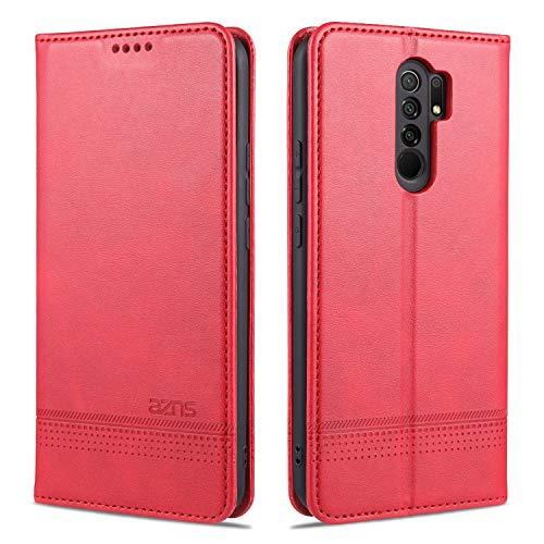 Tangyongjiao Cajas de teléfono móvil para Xiaomi Redmi 9 AZNS Estuche de Cuero con Tapa magnética con Textura de Becerro Horizontal con Ranuras para Tarjetas, Soporte y Billetera Protector telefónico