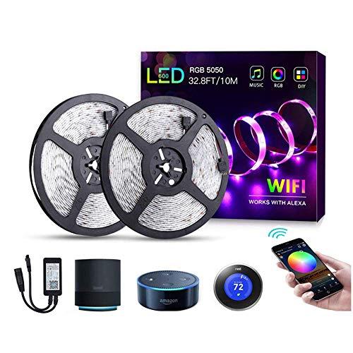 LED Music Strip Led Bandas, LED Strip Waterproof Music Sync. con control remoto IR para tiras de luz LED a prueba de agua para la cocina en casa para Navidad y adaptador de corriente de 12V 5A,USA