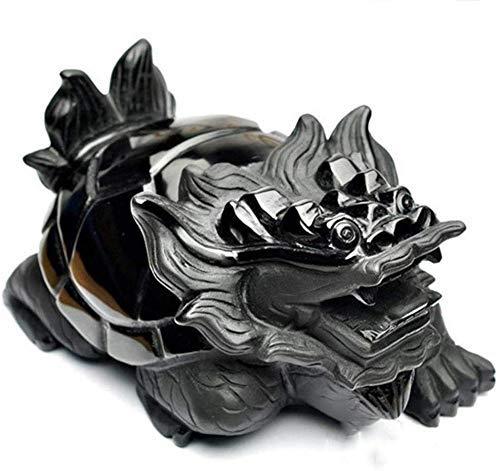 L.TSN Estatua de Tortuga dragón de obsidiana de Feng Shui Chino, símbolo de decoración del hogar longevidad Mejor Regalo de felicitación de inauguración de la casa Adornos de Feng Shui, estatuas e