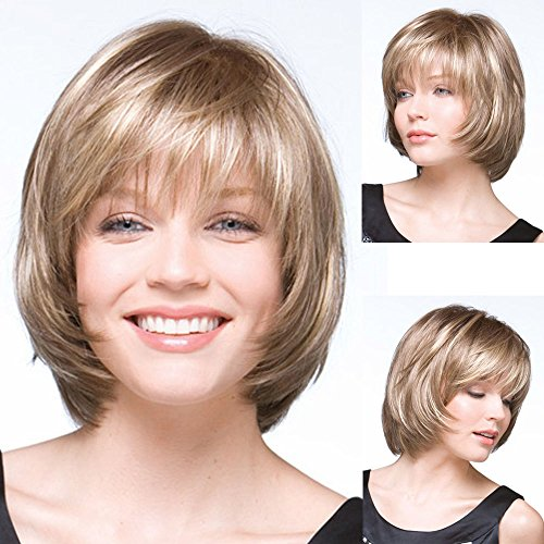 GNIMEGIL Short Blonde Wigs for White Women Natural Short Hairstyles Bob Wig with Bangs Soft Hair Replacement Wigs for Women Cosplay Wig Cap Free