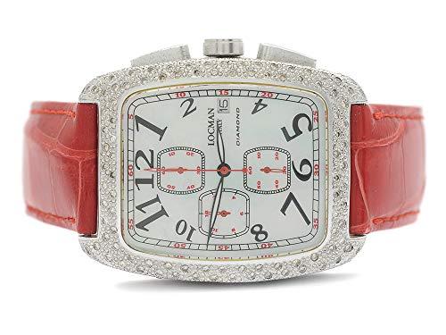 Locman 487 Uhr Sport Tonneau Diamant Weiß und Rot Gurt