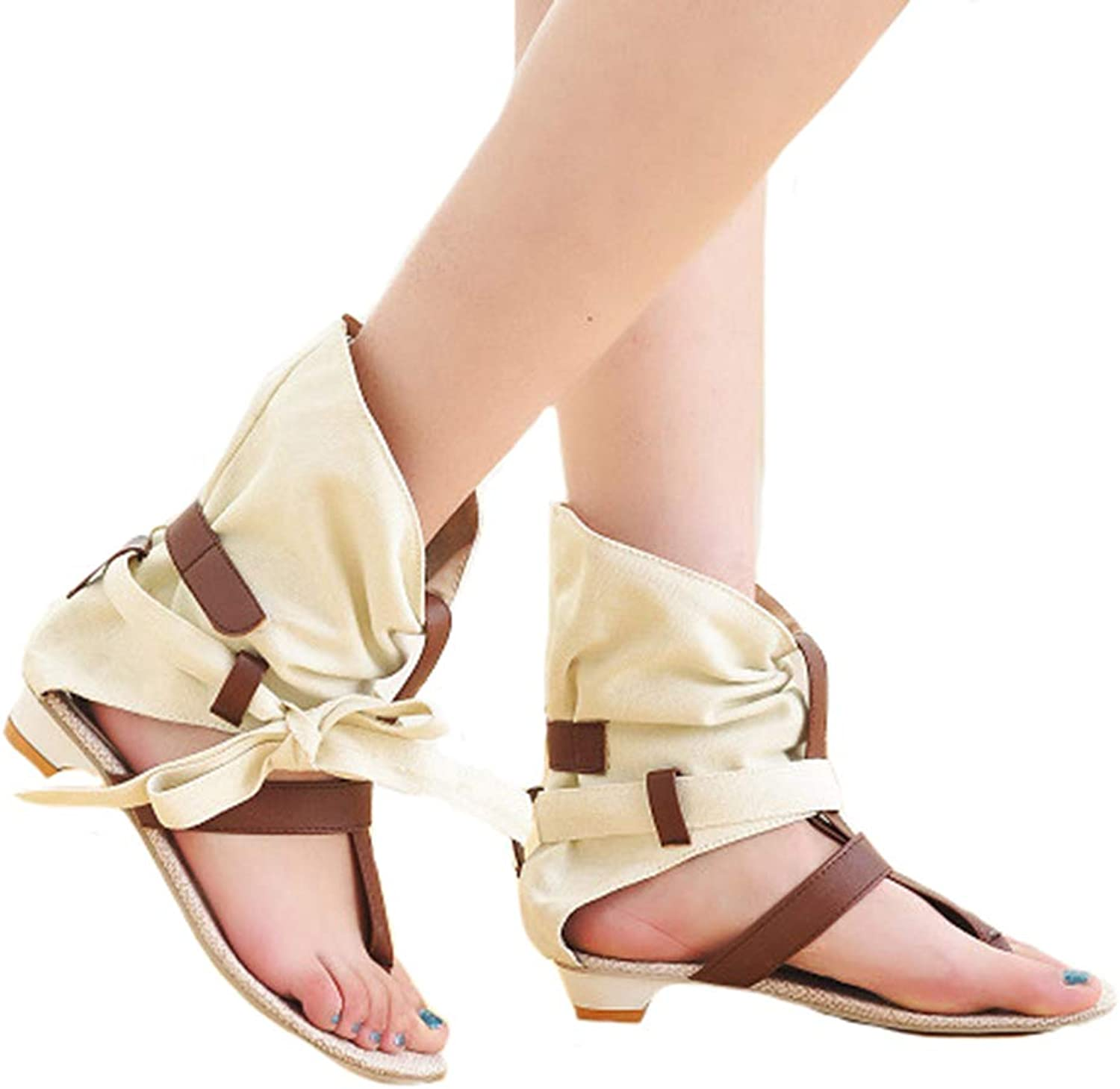 Women Rome Sandals Flax Hollow Low-Heeled Sandal Comfy Buckle Breathable shoes,White,40