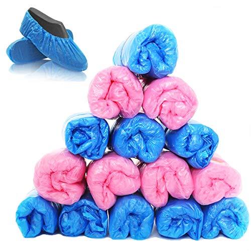 Dancepandas Einweg Uberziehschuhe Anti-rutsch Schuhüberzieher 200PCS Kunststoff Einweg Schuhüberzieher Wasserdicht Uberziehschuhe, Perfekt für Medizin, Zuhause, Geschäft und Büro - Blau Rosa