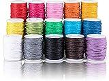 SOSMAR 15 rollos de cordón hilo cuerda de algodón encerado de 10 m Ø 1 mm, cordón de cera Hilo de algodón de colores para bricolaje pulsera, collar, joyería, costura, etc.