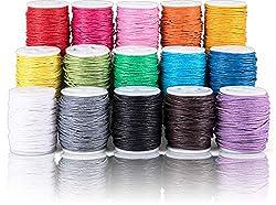 SOSMAR 15 Rollen Gewachste Baumwollschnur Set 10m Ø 1mm, Waschsband Wachsschnur Bunte Baumwollgarn für DIY Armband Halskette Schmuckherstellung handgemachtes Nähen und mehr.