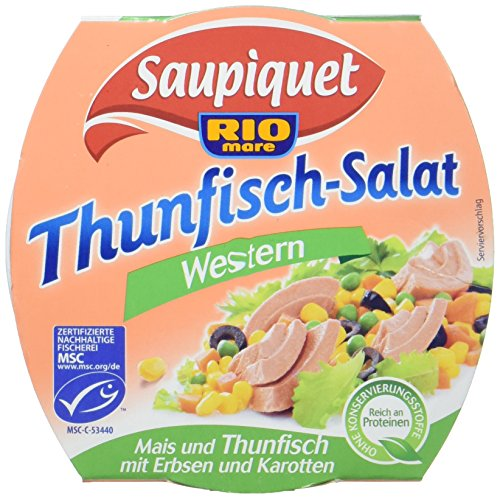 Saupiquet Rio Mare Thunfisch-Salat Western, MSC zertifiziert, Fix und fertig zubereitet, Ideal für unterwegs, 160g