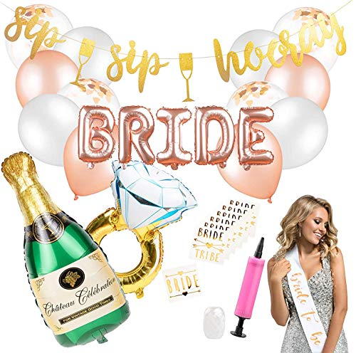 Bachelorette Party Decorations - Bridal Shower Decor & Bachelorette Decorations Kit Supplies - Bride to Be Sash, Sip Sip Hooray Party Banner, Rose Gold Balloons, Bridal Party Tattoos