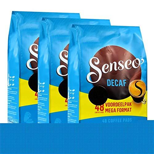 Senseo Kaffeepads Décafé / Entkoffeiniert, Reiches Aroma, Intensiv & Ausgewogen, Kaffee, neues Design, 3er Pack, 3 x 48 Pads