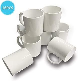 16 PCS Mugs 11 OZ Sublimation Blank White Mug Coated Ceramic Cup Halloween Christmas DIY Mugs by UOhost