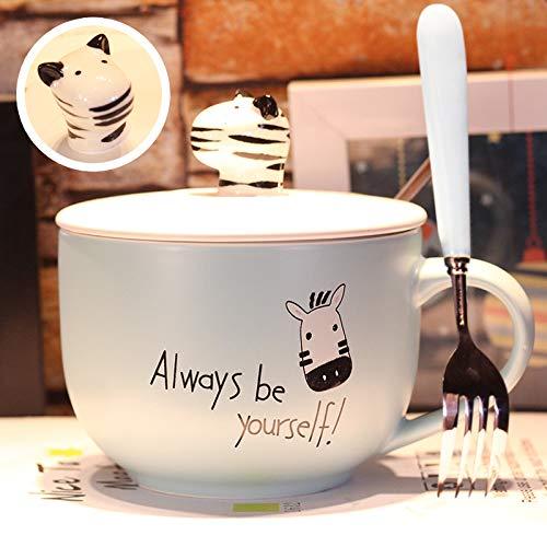 HRDZ Taza con Tapa Cuchara tazón de Fideos de Gran Capacidad Taza de Avena Taza de Desayuno Leche tazón de Avena Olla Barriga cerámica hogar