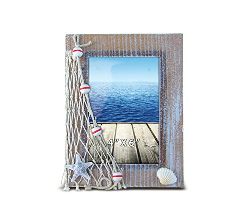 Puzzled Resin Brown Picture Frame with Starfish Seashell & Fishing Net, 4 x 6 Inch Sculptural Photo Holder Intricate Art Handcrafted Tabletop Accessory Nautical Beach Ocean Themed Home Accent Décor