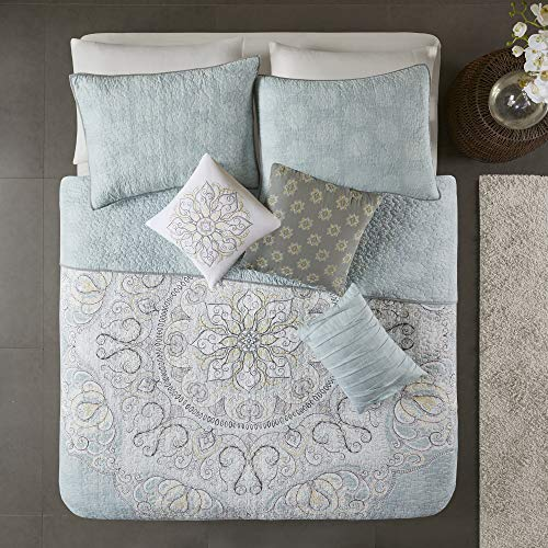 "Madison Park Lucidnda 6 Piece Reversible Cotton Sateen Quilt Set Coverlet Bedding, Full/Queen(90""x90""), Medallion Seafoam"