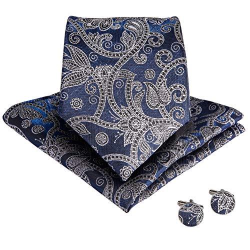 WOXHY Cravate Homme 160Cm Longueur Paisley Cravates Mode Boutons De Manchette Hanky Ensembles Soie 8.5Cm Cravate Mariage Marié