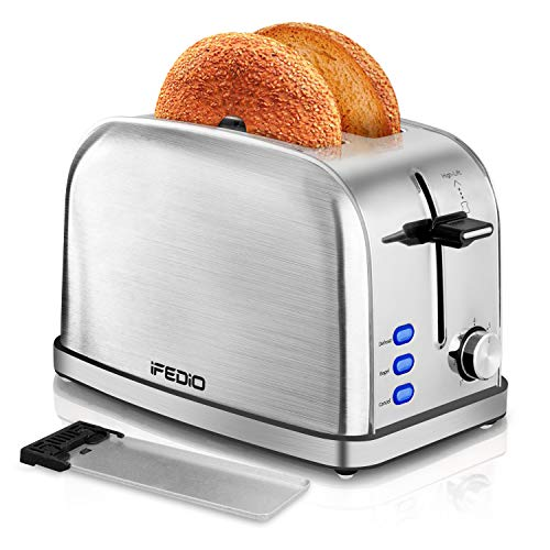 iFEDiO 2 Slice Toaster Best Rated Prime with Removable Crumb Tray Stainless Steel Compact Extra Wide Slots Muffins Waffles Bread Small Retro Bagle Toaster(Silver)