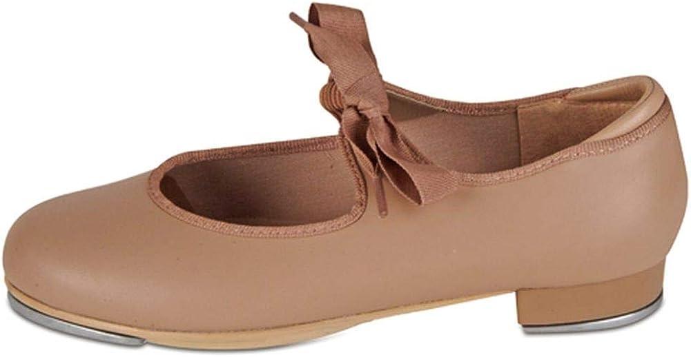 Danshuz Little Girls Tan Grosgrain Ribbon Dance Tap Shoe Size 1