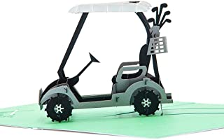 Paper Spiritz Golfcart Valentine's Day with Envelope - Pop up Birthday Cards for Women Men Boys Kids - Laser Cut 3D Pop up Card Thank You Flowers Anniversary all Occasion for Mother Father Sister