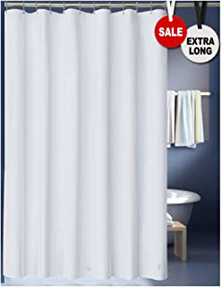 LanMeng Solid Fabric Extra Long Shower Curtain Liner for Bathroom, Hotel Quality Machine Washable (72-by-78 inch, White)