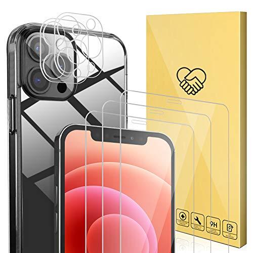 ANEWSIR Kompatibel mit iPhone 12 Pro Hulle 3 Stuck Panzerglas Schutzfolie und 2 Stuck Kamera Schutzfolie 9H Klar Blasenfrei Displayschutz Weiche TPU Silikon Case Cover Transparent