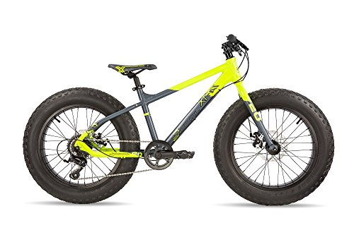 S'COOL Kinder XTfat 20-9 Jugendfahrrad, Neon Yellow/Black Matt, 20 Zoll