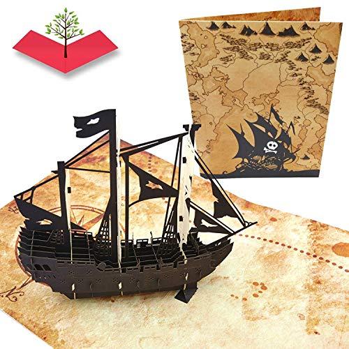 PopLife Cards Piratenschiff & Schatz Karte 3D Popup-Grußkarte für alle Anlässe - Vatertag, alles Gute zum Geburtstag, Abschluss, Ruhestand Schatzjäger, Piraten, Ozean-Liebhaber Falten flach