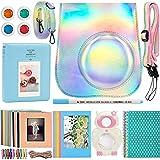 Katia Kit d'accessoires pour appareil photo instantané Fujifilm Mini 9, Mini 8+, Mini 8, avec étui pour appareil photo, album, cadre, autocollants, sangle, etc. Gris flash