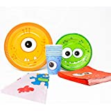 Monster Deluxe Party Packs (70+ Pieces for 16 Guests!), Monster Party Supplies, 1st Birthday Party Supplies, Kids Party Supplies