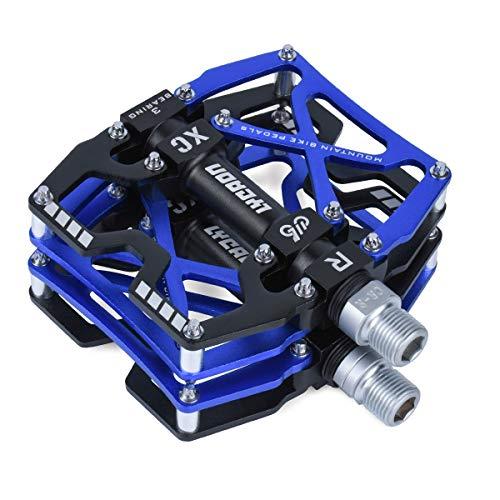 "LYCAON Fahrradpedale MTB Pedal, CNC Aluminiumlegierung rutschfeste Cr-Mo Spindel Fahrrad Pedal, 3 Lager Pedale für 9/16\"" MTB BMX Fahrrad Mountain Road Bike (Blau)"