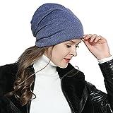 DonDon Mujer Jersey Gorro para todo el año clásico flexible gorro transpirable suave y adaptable a cualquier talla de cabeza - Azul