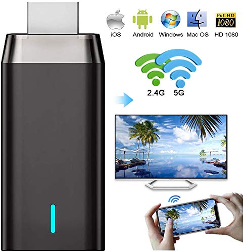 Wireless Display Adapter Dongle, 5G/2.4G HDMI Display Adapter Receiver, 4K& Dual Band&1080P Wireless WiFi Adapter Miracast Mirroring Screen, for Smartphones Laptops to HDTV Projector Car Monitor