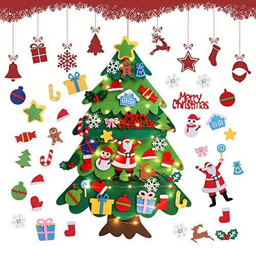 Feltro Albero Natale, 3.28ft Albero di Natale in Feltro per Bambini, DIY Albero Natale Feltro con 32 Staccabili Ornamenti, Regali di Natale per Bambini, per Decorazioni Natalizie da Parete per Porte