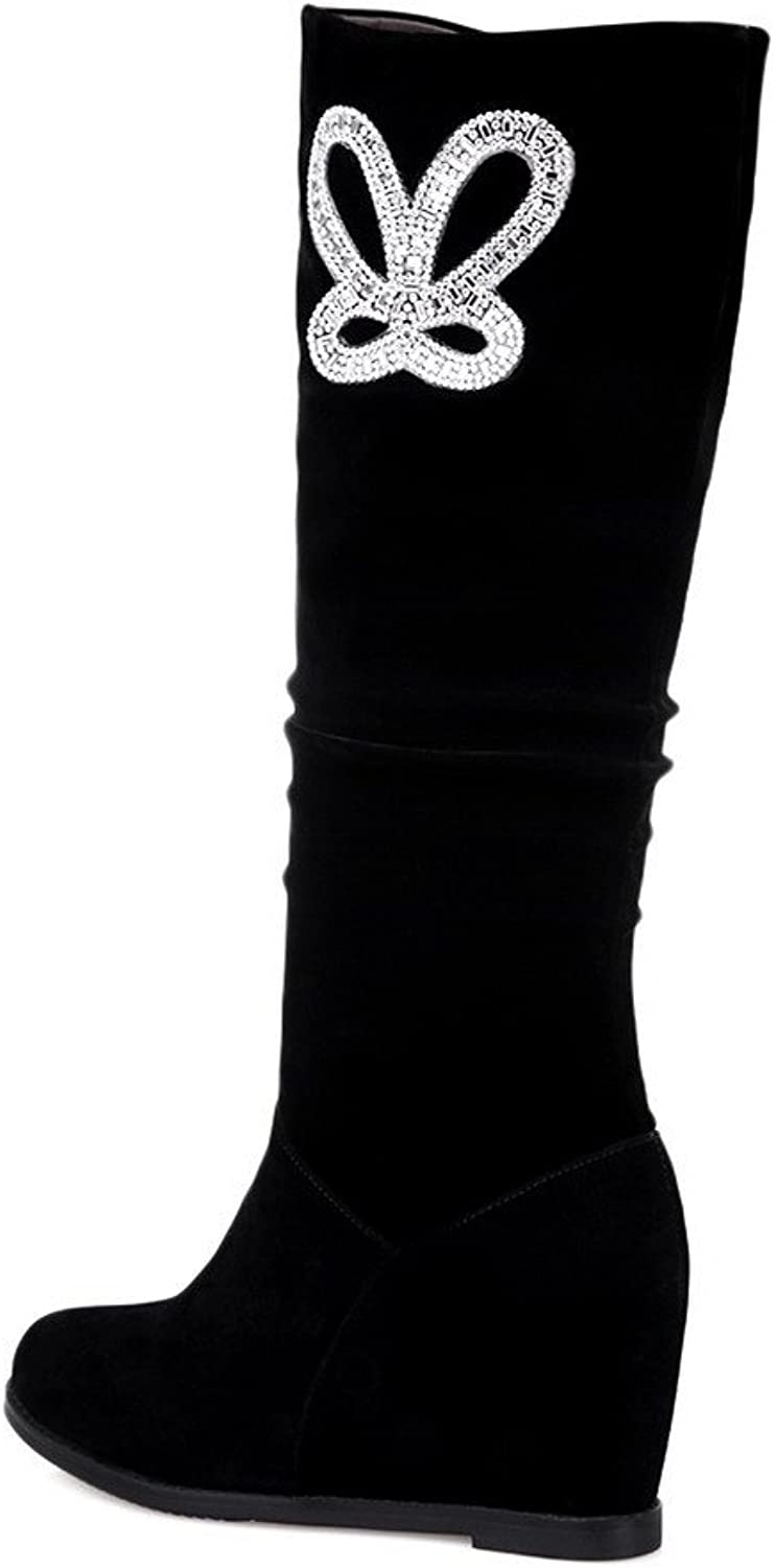 WeiPoot Womens Closed Round Toe Imitated Suede Soft Material Solid Boots with Glass Diamond, True