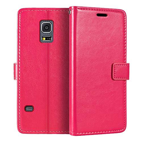 Funda tipo cartera para Samsung Galaxy S5 Mini, de piel sintética, con tapa magnética, con tarjetero y función atril para Samsung Galaxy S5 Mini