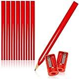 com-four® Juego de 10 lápices de Carpintero y sacapuntas, lápices de Madera ovalados con un Ancho de línea de 1-2 mm, sin afilar - Longitud 175 mm (10 Piezas - Rojo - con sacapuntas)