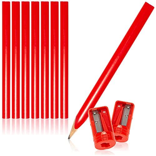 com-four® 10-teiliges Set Zimmermannsbleistifte und Anspitzer, ovale Holz-Bleistifte mit Einer Strichbreite von 1-2 mm, unangespitzt - Länge 175 mm (10-teilig - rot - mit Anspitzer)