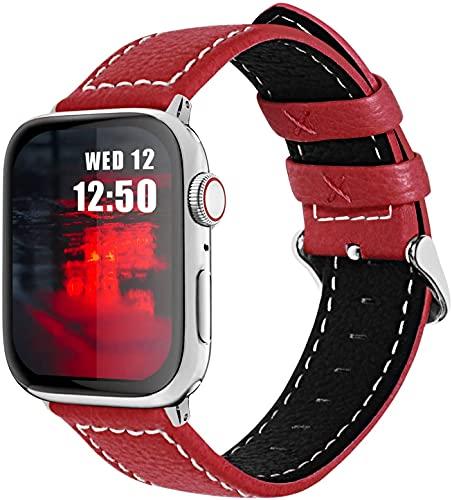 chenghuax Correa de piel para iWatch de 42 mm, 38 mm, 44 mm, 40 mm, compatible con correas de reloj iWatch Series SE/6/5/4/3/2/1 (color: rojo, tamaño: 42 mm/44 mm)