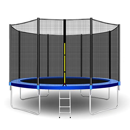 CalmMax Trampolines 12-Foot Jump Trampoline with Enclosure Net, Spring Pad, Ladder - Combo Bounce Outdoor Trampoline for Kids, Adults