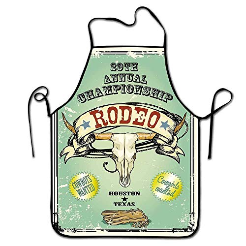 Not Applicable Western Apron Chef Retro Stil Rodeo Meisterschaft Poster Bull Skull Große Hörner mit Banner Grungy Schürze Grill, Grill, Farbe Multicolor