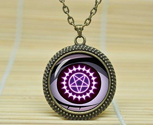 Fashion Halskette Cosplay Black Butler Pentagramm Dämon Symbol Schmuck Glas Cabochon Halskette