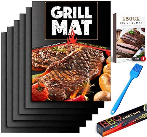 PADOMA BBQ Grill Mat Non Stick Set of 6 Heavy Duty 570 Degree for Gas Grill Charcoal Reusable product image