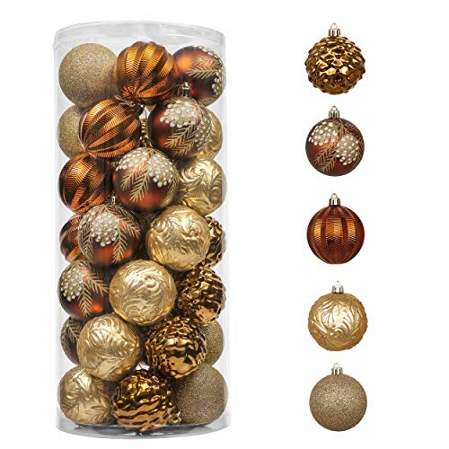 Valery Madelyn 35ct 70mm Woodland Copper Gold Christmas Ball Ornaments, Shatterproof Christmas Tree Ornaments Xmas Decoration, Themed with Tree Skirt (Not Included)