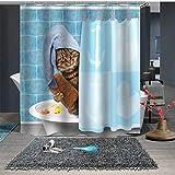 Duschvorhang mit 3D-Motiv Katze mit Haken, wasserdicht, schimmelresistent, Badezimmervorhang, waschbar, für Kinder, Polyestergewebe (1150 x 180 cm)