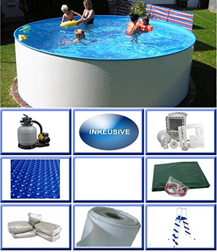 Stahlwandbecken Set Mexico Basic rund ø 3,50m x 0,90m Folie 0,4mm All Inklusive Set Pool Rundpool / 350 x 90 cm Stahlwandpool