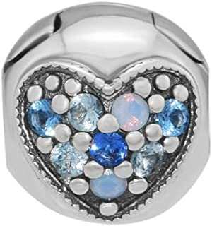 CKK Blue Hearts Clips 925 Sterling Silver Stopper Lock Charm Beads for Pandora Bracelets Jewelry Making Gift for Women Girls