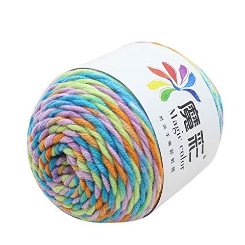 Xinger 5 strengen regenboog katoen gehaakte trui sjaal lijn watten wol draad gezellige watten breien gevlochten haken, L