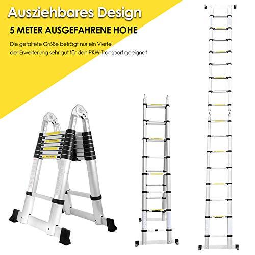Hengda 5M(2.5+2.5) M Teleskopleiter Klappleiter Multifunktionsleiter Aluleiter Klappleiter Anti-Rutsch Stufen Alu Leiter Ausziehbar Haushaltsleiter Maximale Belastbarkeit 150 kg