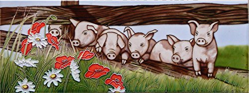 Daisies, Poppies & Pigs Decorative Ceramic Tile By David Feather 6x16 by SC Leisure