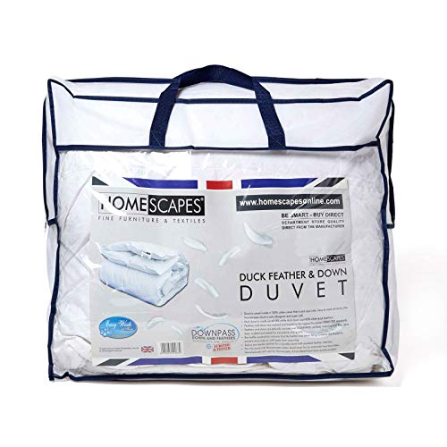 HOMESCAPES White Duck Feather & Down All Seasons Duvet 9 Tog & 4.5 Tog 3 in 1 Duvet 100% Cotton Hypoallergenic Anti Dust Mite Fabric RDS Certified Washable At Home, Super King Size
